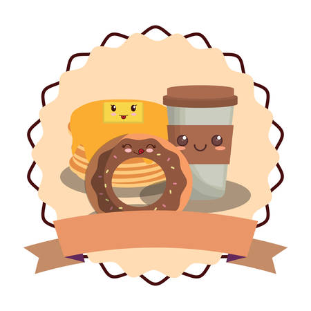 emblem with kawaii pancakes with donut and coffee cup over white background, vector illustration