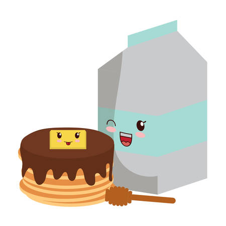 kawaii pancakes and milk box over white background, vector illustration
