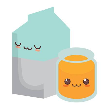 Caja de leche kawaii y jugo de naranja sobre fondo blanco, ilustración vectorial Ilustración de vector