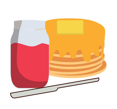 kawaii pancakes and marmalade bottle over white background, vector illustration