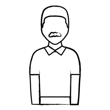 avatar man with mustache and wearing casual clothes over white background, vector illustration  イラスト・ベクター素材