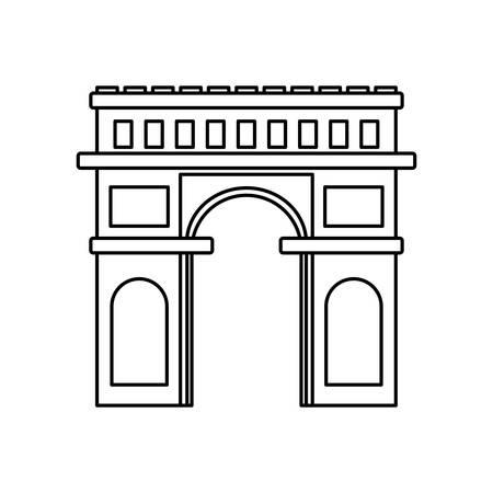 arc de triomphe architecture point de repère illustration vectorielle fine ligne