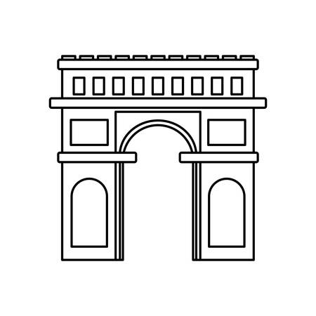 arch of triumph architecture landmark vector illustration thin line
