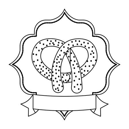emblem with pretzel icon and decorative ribbon over white background, vector illustration