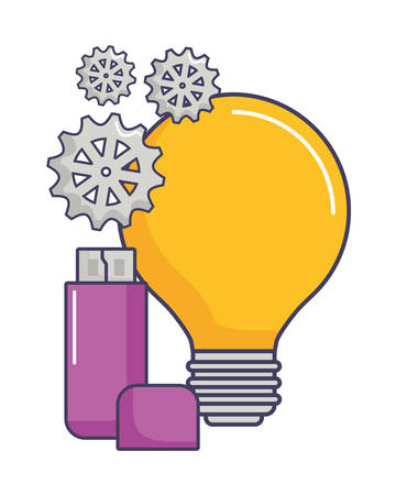 bulb light and usb icon over white background, vector illustration