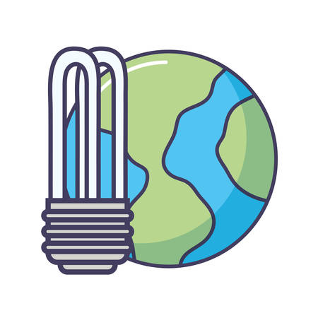 light bulb and earth planet icon over white background, vector illustration