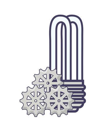 energy saving light bulb and gear wheels over white background, vector illustration