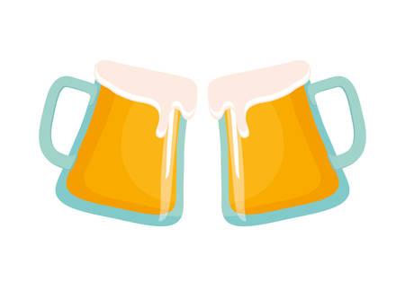 beer glasses toast drink celebration vector illustration Illustration