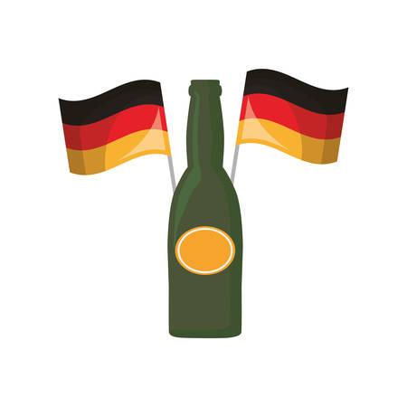 oktoberfest beer bottles and germany flags vector illustration