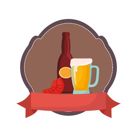 oktoberfest sausage bottle beer and glass emblem vector illustration