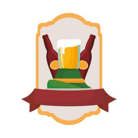 oktoberfest hat beer bottle and glass emblem vector illustration
