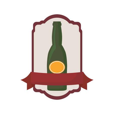 beer bottle drink beverage alcohol banner emblem vector illustration
