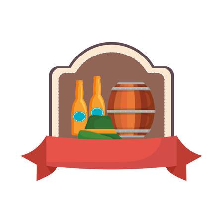oktoberfest beer barrel bottles and germany hat emblem vector illustration Illustration