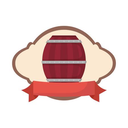 wooden barrel drink liquor rustic emblem vector illustration Illustration