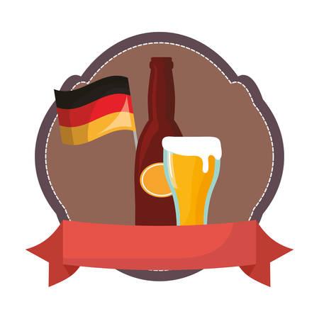 oktoberfest germnay flag bottle beer glass emblem vector illustration