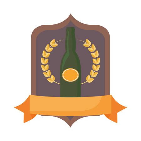 beer bottle drink beverage alcohol emblem vector illustration Ilustracja