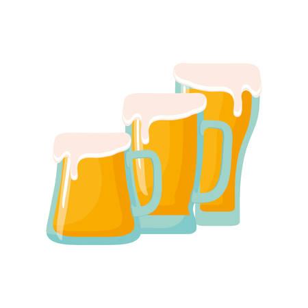 three beer glasses foam cold drink vector illustration