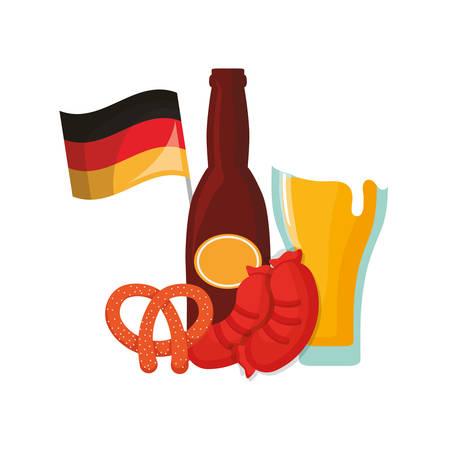 oktoberfest germany flag beer glass botlle sausage and pretzel vector illustration Illusztráció