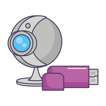 webcam usb drive storage backup data innovation vector illustration