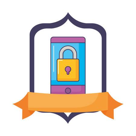 smartphone secure device technology gadget innovation vector illustration