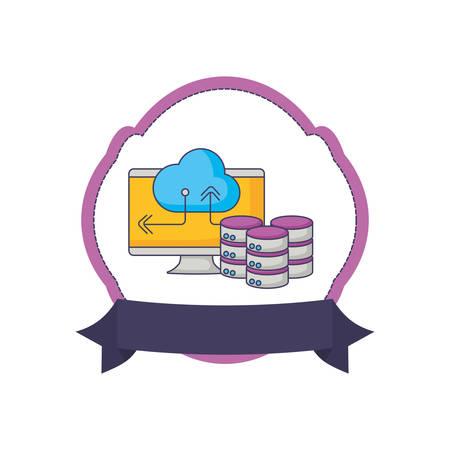 database storage computer cloud computing emblem innovation vector illustration