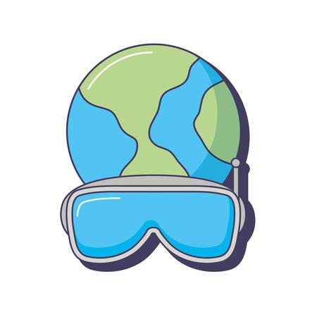 world planet 3d vr goggles innovation vector illustration Illustration