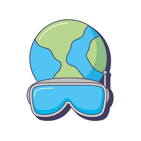 world planet 3d vr goggles innovation vector illustration Illustration