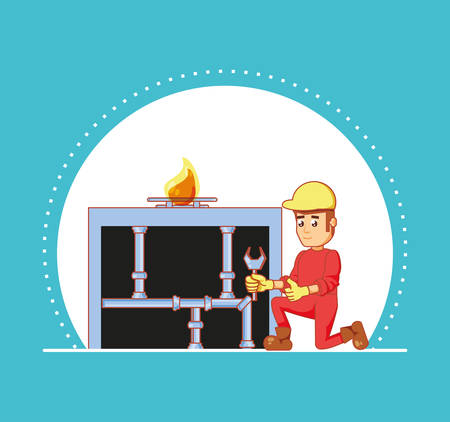 builder character with home repair icons vector illustration design