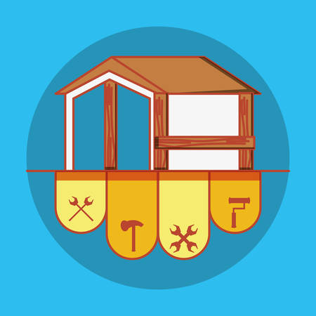house building with home repair icons vector illustration design Stock Illustratie