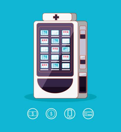 dispenser of medicine machine electronic vector illustration design