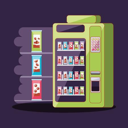 Dispensador de chocolates, diseño de ilustraciones vectoriales electrónicas de la máquina