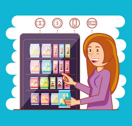 woman using dispenser machine electronic vector illustration design