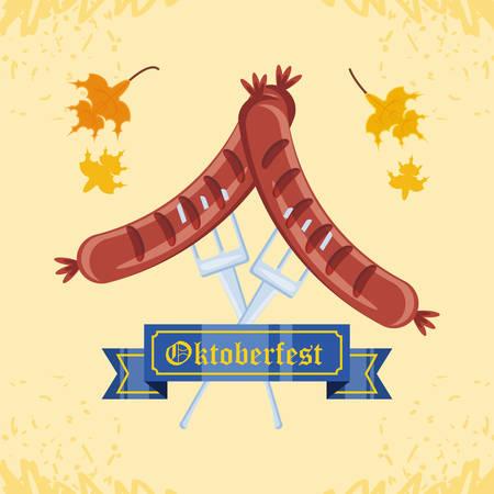 sausages in fork oktoberfest celebration vector illustration design