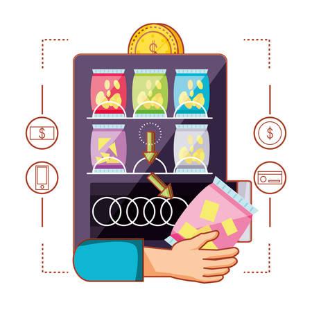 hand using dispenser of chips machine electronic vector illustration design
