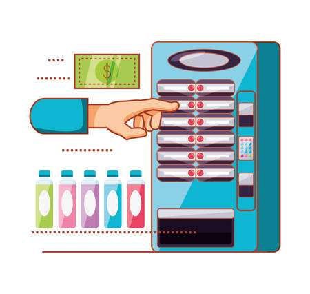 hand using dispenser of beverage machine electronic vector illustration design