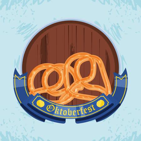 pretzels with barrel beer oktoberfest celebration vector illustration design Vettoriali