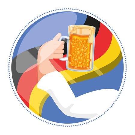 hand with jar beer oktoberfest celebration vector illustration design