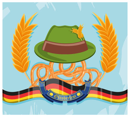 tyrolean hat with pretzels oktoberfest celebration vector illustration design