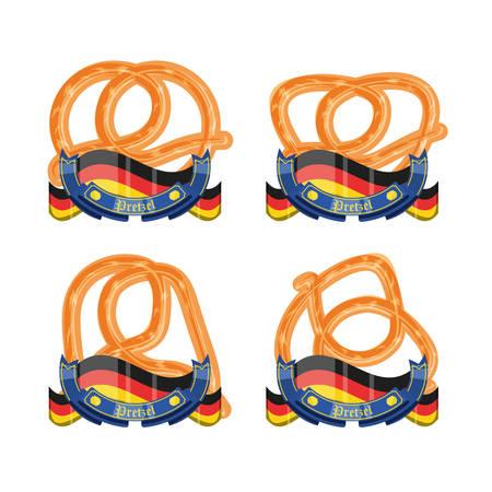 set of pretzels with germany flags oktoberfest celebration vector illustration design