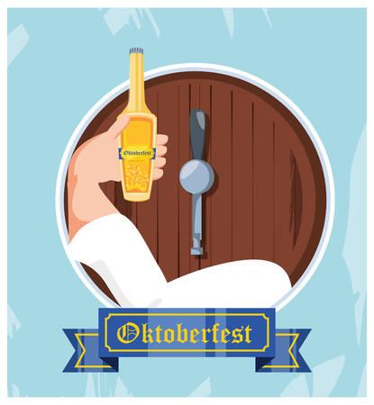 hand with bottle and barrel of beer oktoberfest celebration vector illustration design