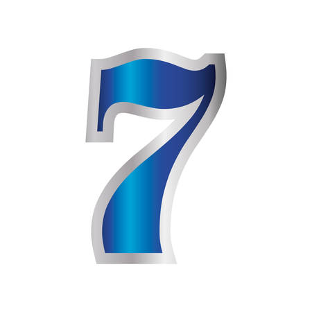 blue seven number decoration icon vector illustration Vektorové ilustrace