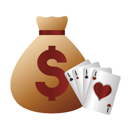 casino poker money bag and card aces vector illustration