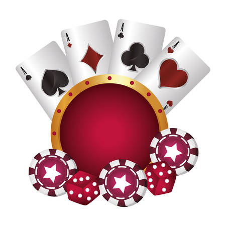 casino poker suit cards chip and dices vector illustration