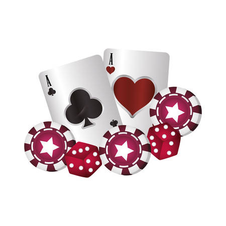 casino poker aces heart club cards chip dices vector illustration Vectores