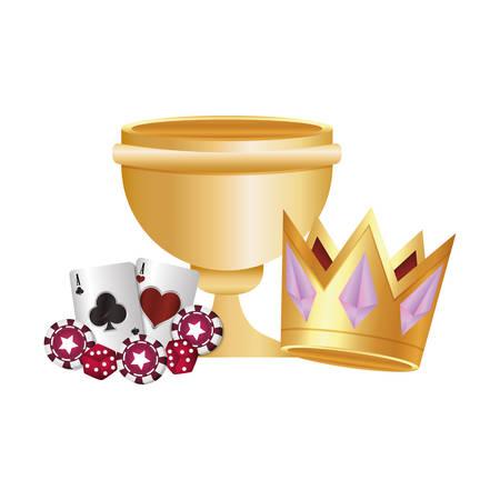 Casino poker trofeo de oro tarjetas de corona dados chip ilustración vectorial