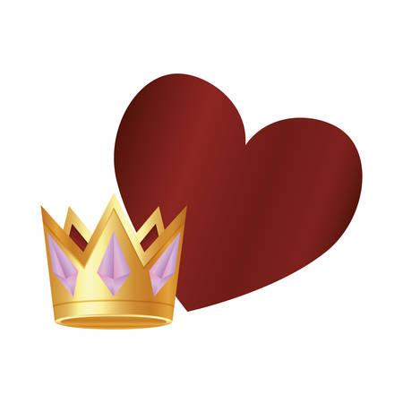 casino poker golden crown heart vector illustration