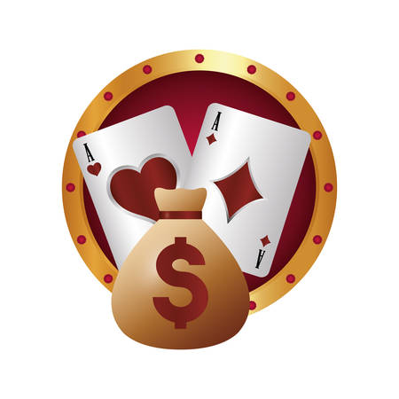 casino poker money bag dollar ace cards vector illustration Illustration