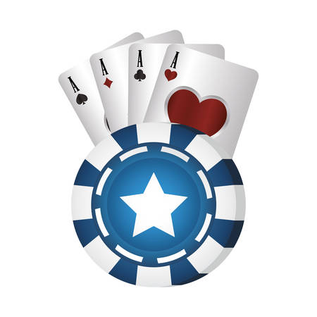 casino poker blue chip and aces cards vector illustration