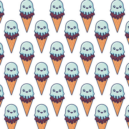 kawaii ice cream background, colorful design. vector illustration