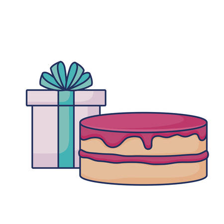strawberry cake gift box birthday  vector illustration